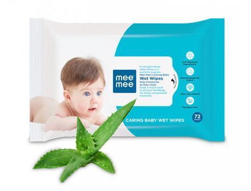 CARING BABY WIPES WITH ALOE VERA (72 PCS)