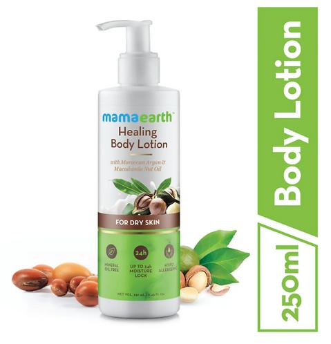 Mamaearth Healing Body Lotion with Moroccan Argan and Macadamia.