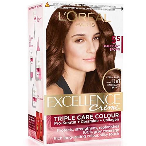 L'Oreal Paris Excellence Creme Hair Color, 5.5 Mahogany Brown, 72 ml+100 gm