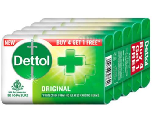 Dettol Original Soap 125 gm Each (Buy 4 Get 1 Free)