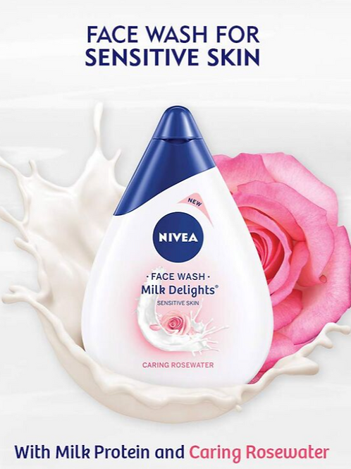 Nivea Face Wash, Milk Delight Caring Rosewater For Sensitive Water, 100 ml