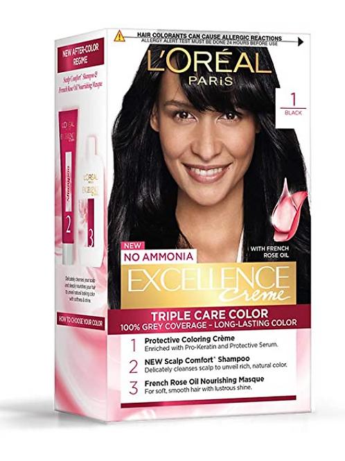 L'Oreal Paris Excellence Creme Hair Color, 1 Black, 72 ml+100 gm