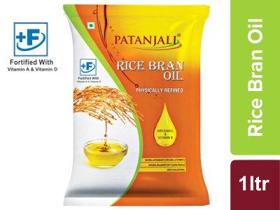 Patanjali Rice Bran Oil - 1 L Pouch