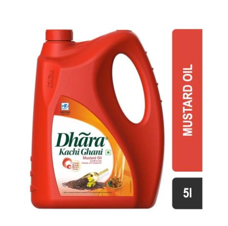 Dhara Kachi Ghani Mustard Oil (Jar) 5L