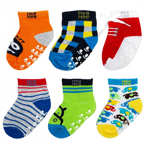 COZY FEET ANTI SKID COTTON BABY SOCKS (PACK OF 6) (COLORS MAY VARY)