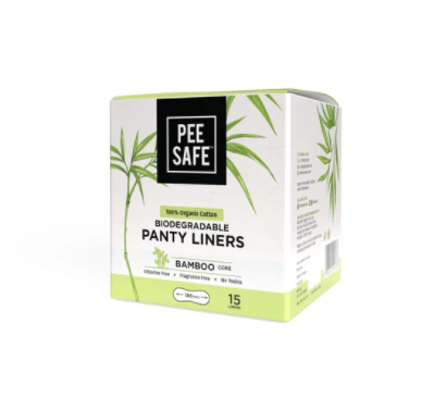 PEE SAFE PANTY LINERS - 100% ORGANIC COTTON, BIODEGRADABLE