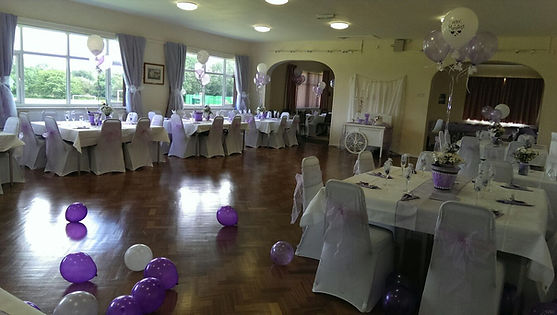Picture of the hall setup ready for a wedding reception