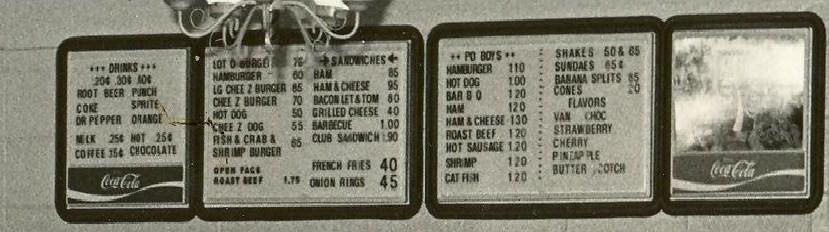 1970s menu board