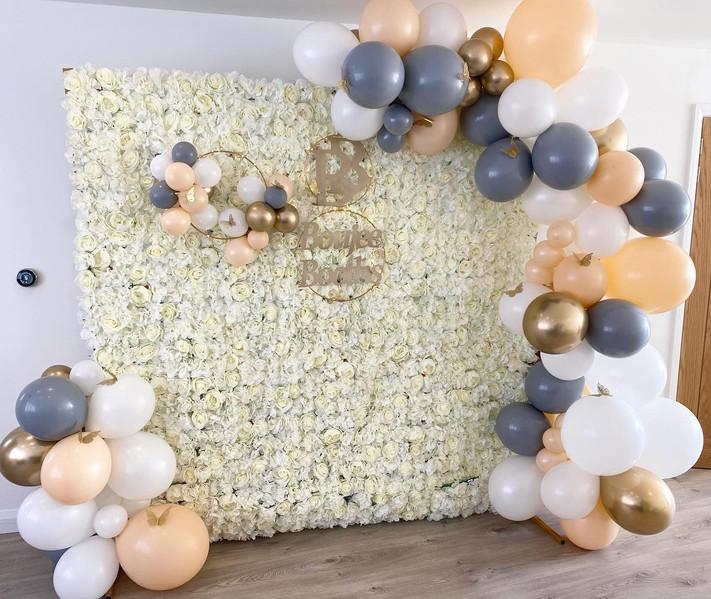 Flower wall Blush grey white gold Balloon Arch