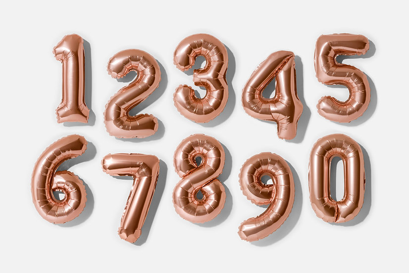 """Foil Helium Numbers - 34"""" Rose Gold"""