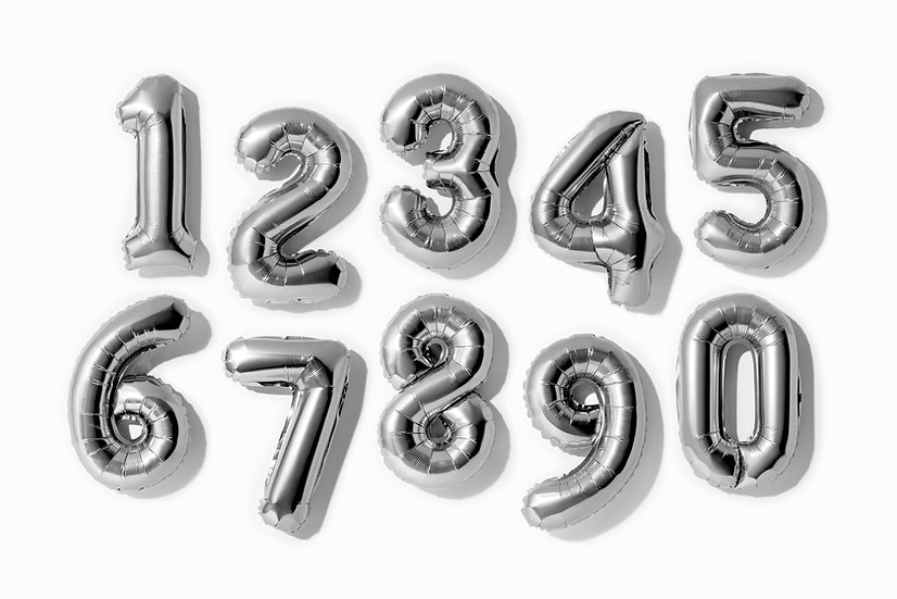 """Foil Helium Numbers - 34"""" Silver"""
