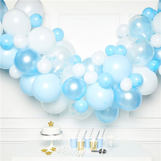 Pastel Blue and White Balloon Arch Garland