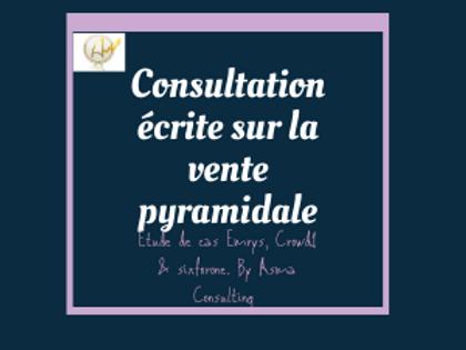 Consultation écrite sur la vente pyramidale