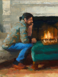 """""""Fireside"""" Private Collection 6x9"""" Oil on panel"""