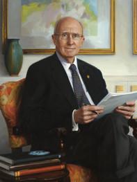 """Robert A. Scott, Ph.D. President Emeritus, Adelphi University Garden City, New York 40x43"""" Oil on linen"""