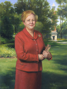 "Judith Bonner Ph.D., President, University of Alabama Tuscaloosa, Alabama 44x32"" Oil on linen"