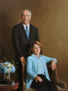 "Chris & Susan Kearney Chairman, President & CEO, SPX Corporation Foundation for the Carolinas, North Carolina 62x44"" Oil on linen"