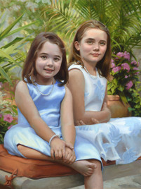 """Isabella and Caroline Private Collection 32x37"""" Oil on linen"""