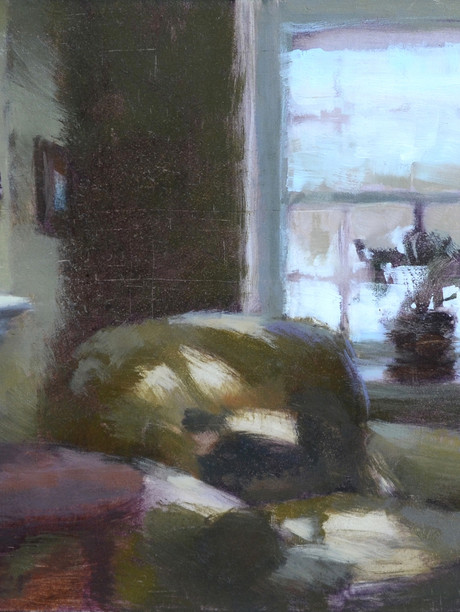 """""""Interior, January"""" Private Collection 6x9"""" Oil on panel"""