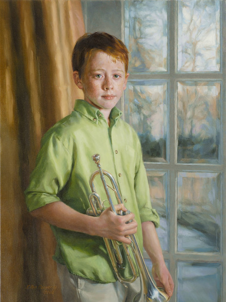 "Bobby Private Collection 38x26"" Oil on linen  Portrait Society of America Honorable Mention – Children"