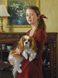 """Maura with Lilly Private Collection 32x28"""" Oil on linen"""