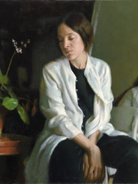 """""""Two Worlds"""" 24x34"""" Oil on linen  1st Place Non-Commissioned Portraits Portrait Society of America Members Only Competition  Please contact the artist for pricing."""