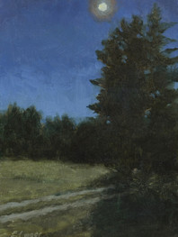 """""""Midnight Over Islesboro, Maine"""" Private Collection 9x6"""" Oil on panel"""