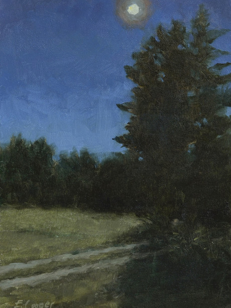 """""""Midnight Over Islesboro, Maine"""" 9x6"""" Oil on panel  Please contact the artist for pricing."""