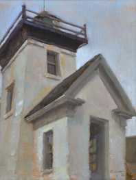 """""""Morning Overcast, Indian Island Lighthouse"""" 14x11"""" Oil on linen mounted to board  Please contact the artist for pricing."""