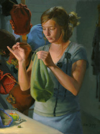 """""""Nola Sews Hats"""" 27x22"""" Oil on linen  Please contact the artist for pricing."""