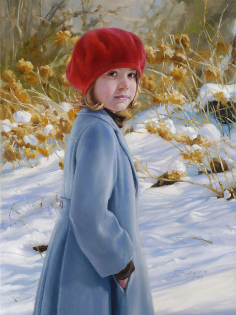 """""""Marmee's Garden In The Snow"""" Private Collection 33x24"""" Oil on linen  Portraits, Inc., 1st Place"""