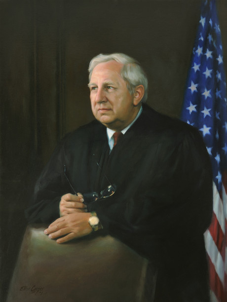 "The Honorable Leonard A. Ivanoksi Judge, Court of Common Pleas Philadelphia, Pennsylvania 38x30"" Oil on linen"