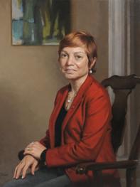 """Julie Wollman, Ph.D. President, Edinboro University Edinboro, Pennsylvania 32x27"""" Oil on linen"""