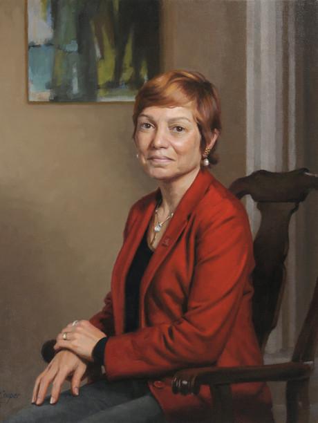 "Julie E. Wollman, Ph.D., President  Edinboro University Edinboro, Pennsylvania 32x27"" Oil on linen"