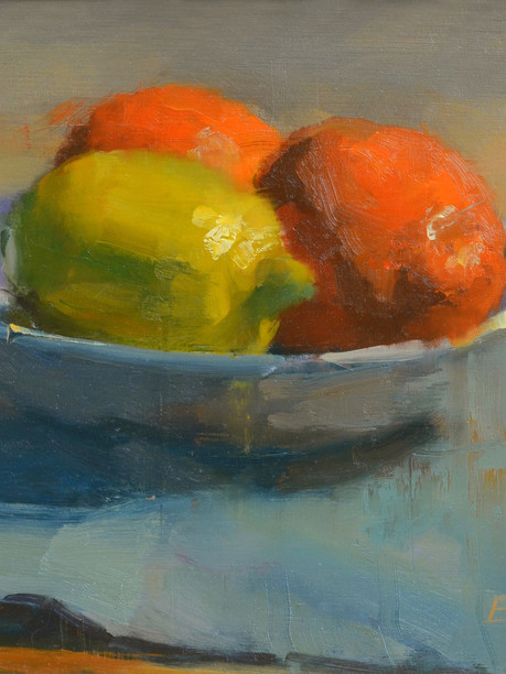 """""""Lemons and Oranges"""" Private Collection 8x12"""" Oil on board"""