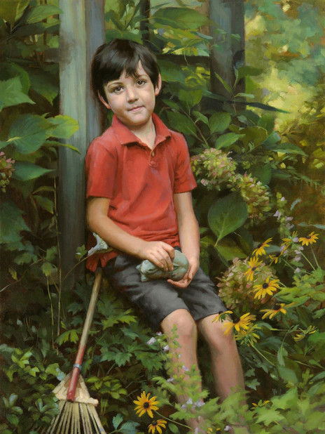 """""""Autumn in Marmee's Garden"""" Private Collection 44x29"""" Oil on linen"""