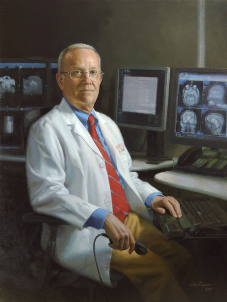 "R. Nick Bryan, M.D., Ph.D. Chair, Penn Medicine Department of Radiology Hospital of The University of Pennsylvania 43x33"" Oil on linen"