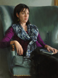 """""""Big Blue Chair"""" 37x33"""" Oil on linen  Please contact the artist for pricing."""