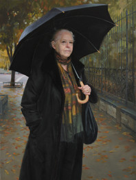 """""""Defiance of Erebus"""" Portrait of Jennifer Merin 62x36"""" Oil on linen  Portrait Society of America 1st Place & People's Choice  Phil Desind Award Butler Institute of American Art  Please contact the artist for pricing."""