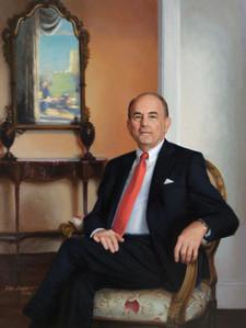 "Edmund Hajim, Board Chair University of Rochester Rochester, New York 53x41"" Oil on linen"