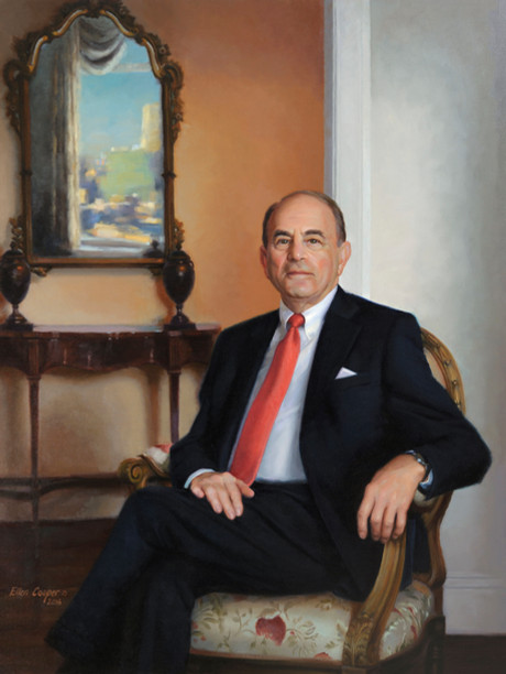 "Edmund Hajim, Board Chair University of Rochester Rochester, New York 53x41"" Oil on linen"
