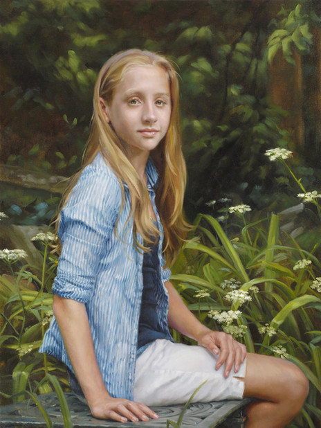"""Erin Private Collection 35x25"""" Oil on linen  Artist's Magazine, 26th Annual Competition Finalist – Portrait and Figure  Portrait Society of America 3rd Place – Oil Medium"""