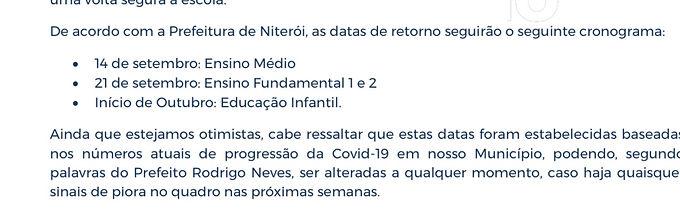 Colégios de Niterói já avisam famílias sobre volta às aulas presenciais