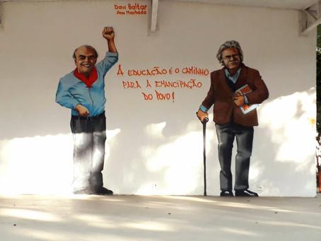 Horto do Fonseca ganha arte em homenagem a Brizola e Darcy Ribeiro