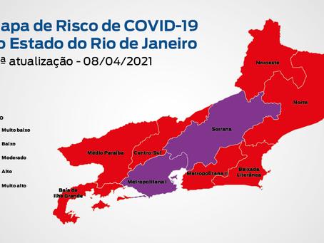 Mapa da Covid: Niterói tem risco alto; Rio de Janeiro, muito alto