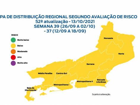 Mapa de risco da Covid é o melhor desde o início da pandemia no estado do Rio