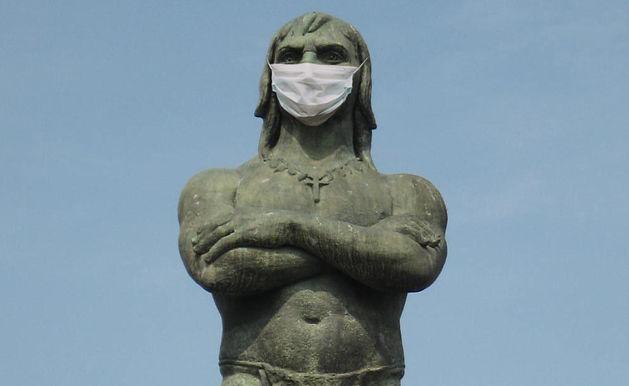 Araribóia não tem cocar mas agora usa máscara contra a Covid-19