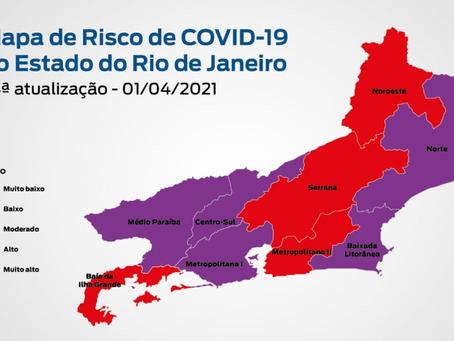 Estado do Rio entra na pior situação de risco de Covid, Alerta Roxo. FIQUE EM CASA!
