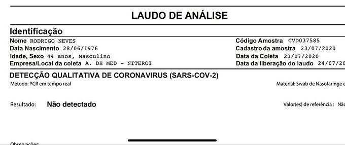 O Prefeito de Niterói, Rodrigo Neves, testou negativo para Covid