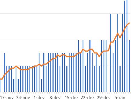 Gráfico mostra o número de mortes em Niterói dia após dia até o recorde na primeira semana de 2021